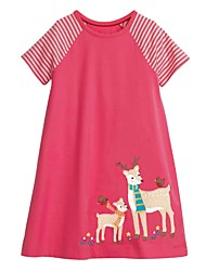 cheap -Kids Girls' Cartoon Dress Fuchsia