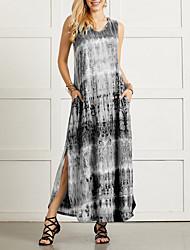 cheap -Women's Shift Dress Maxi long Dress - Sleeveless Tie Dye Summer Casual 2020 Black Blue Purple Red Green S M L XL XXL XXXL XXXXL XXXXXL