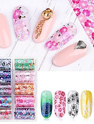 cheap -10 pcs Full Nail Stickers Flower / Galaxy nail art Manicure Pedicure Ergonomic Design / Light and Convenient Elegant / Fashion Party / Evening / Daily