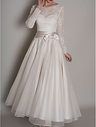 cheap -A-Line Wedding Dresses Jewel Neck Floor Length Satin Tulle Long Sleeve Vintage 1950s with Bow(s) Embroidery 2020