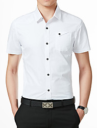 cheap -Men's Plus Size Solid Colored Shirt Military Daily Work Classic Collar White / Black / Red / Blushing Pink / Army Green / Navy Blue / Light Blue / Short Sleeve