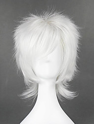 cheap -Cosplay Costume Wig Cosplay Wig Nate River Death Note Curly Cosplay Layered Haircut With Bangs Wig Short White Synthetic Hair 14 inch Men's Anime Cosplay Best Quality White