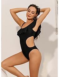 cheap -Women's Sexy Briefs One-piece Swimwear Swimsuit - Solid Colored Ruffle S M L Black