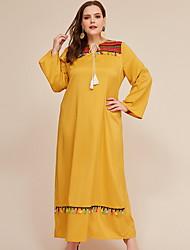 cheap -Women's Plus Size Sheath Dress Maxi long Dress - Long Sleeve Color Block Fall Elegant Loose 2020 Yellow XL XXL XXXL XXXXL XXXXXL
