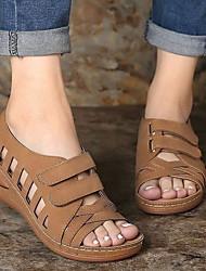 cheap -Women's Sandals Summer Flat Heel Peep Toe Daily PU Dark Brown / White / Light Green