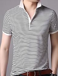 cheap -Men's Polo Striped Short Sleeve Daily Tops Cotton Business Basic White Black Orange