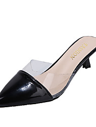 cheap -Women's Sandals 2020 Summer / Fall Stiletto Heel Pointed Toe Minimalism Daily Home Faux Leather Almond / Black / Green / Clear / Transparent / PVC