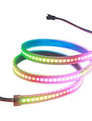 billiga -3.2ft ws2812b adresserbar rgb led remslampa 1m 144 led pixlar programmerbar drömfärg digital led flexibel bandljus vattentät ip67 svart pcb 5v dc för hem sovrum bar dekor belysning 2st