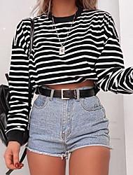 cheap -Women's Cropped Hoddie Striped Solid Colored Basic Hoodies Sweatshirts  White Black Wine