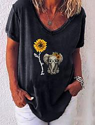 halpa -Naisten Geometrinen T-paita V kaula-aukko Päivittäin Kesä Valkoinen Musta Uima-allas Purppura Rubiini Harmaa S M L XL 2XL 3XL 4XL 5XL