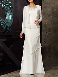 cheap -Two Piece Sheath / Column Mother of the Bride Dress Elegant Jewel Neck Floor Length Chiffon Long Sleeve with Beading Cascading Ruffles 2021