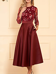 cheap -A-Line Mother of the Bride Dress Elegant Illusion Neck Jewel Neck Ankle Length Lace Satin Long Sleeve with Pleats Appliques Flower 2020