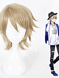 cheap -Cosplay Wig Kazunari Miyoshi Curly Cosplay Halloween With Bangs Wig Short Blonde Synthetic Hair 12 inch Men's Anime Cosplay Designers Blonde