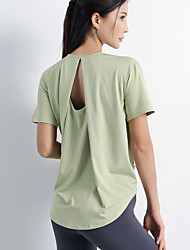 cheap -Women's Yoga Top Summer Fashion Purple Blue Yoga Fitness Running Top Short Sleeve Sport Activewear Quick Dry Breathable Comfortable Stretchy