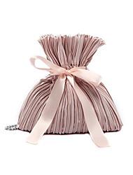 Недорогие -Жен. Шелк Сумочка через плечо Цепная сумка Сплошной цвет Белый / Розовый / Серый