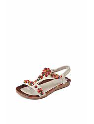 cheap -Women's Sandals Summer / Fall Flat Heel Open Toe Sweet Preppy Daily Home Beading / Flower Faux Leather Yellow / Beige