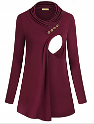 cheap -Women's Blouse Maternity Solid Colored Tops Round Neck Daily Fall Winter Black Red S M L XL