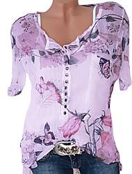 Недорогие -Жен. Большие размеры Геометрический принт Блуза Классический Повседневные V-образный вырез Белый / Синий / Розовый / Оранжевый / Зеленый