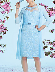 cheap -Two Piece Sheath / Column Mother of the Bride Dress Elegant Illusion Neck Knee Length Lace 3/4 Length Sleeve with Sash / Ribbon Embroidery 2020