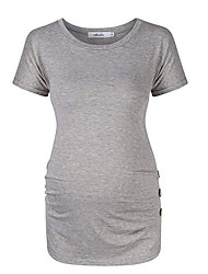 cheap -Women's T-shirt Solid Colored Tops Round Neck Daily Black Gray M L XL 2XL
