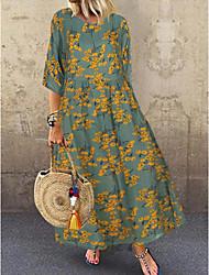 economico -Per donna Vestito a trapezio Vestito maxi - Manica a 3/4 Fantasia floreale Estate Casual 2020 Rosso Verde L XL XXL XXXL XXXXL