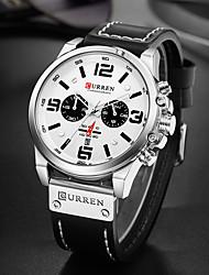 cheap -CURREN Men's Sport Watch Military Watch Analog Quartz Luxury Water Resistant / Waterproof Altimeter Calendar / date / day / PU Leather