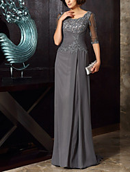 cheap -Sheath / Column Mother of the Bride Dress Elegant Jewel Neck Floor Length Chiffon Half Sleeve with Pleats Ruffles Appliques 2020