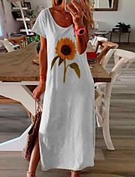 cheap -Women's Shift Dress Maxi long Dress - Short Sleeves Floral Summer Casual 2020 White Black Blue Yellow Blushing Pink S M L XL XXL XXXL XXXXL XXXXXL