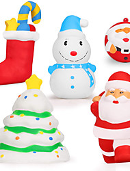 cheap -Squishy Toy Squeeze Toy Jumbo Squishies Socks Snowman Christmas Tree Santa Claus Stress and Anxiety Relief Slow Rising PU For Kid's Adults' Boys and Girls Christmas Gifts Holiday Party Favor 5 pcs