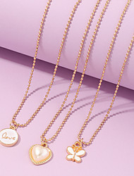 cheap -Women's Pendant Necklace Necklace Classic Alphabet Shape Heart Butterfly Classic Elegant Trendy Fashion Imitation Pearl Chrome Gold 45 cm Necklace Jewelry 3pcs For Wedding Party Evening Birthday