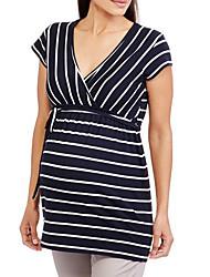 cheap -Women's T-shirt Striped Tops Round Neck Daily White Black S M L XL 2XL