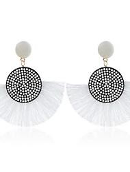 cheap -Women's Hoop Earrings Geometrical Precious Imitation Diamond Earrings Jewelry White / Black / Red For Daily 1 Pair