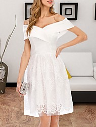 cheap -Women's A-Line Dress Knee Length Dress - Short Sleeves Solid Color Summer Casual 2020 White S M L XL