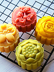 cheap -50 Gram Stereo Rose Flower Cartoon Cake Mould Diy Baking Pastry Tools Kitchen Bakeware Hand Press Plastic Round Moon Cake Mold