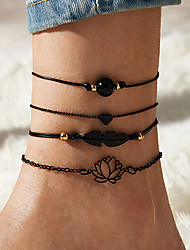 cheap -Leg Chain Simple Classic Trendy Women's Body Jewelry For Gift Holiday Retro Alloy Heart Flower Black 4 Pieces