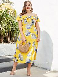 cheap -Women's Sheath Dress Midi Dress - Short Sleeves Floral Summer Off Shoulder Casual Mumu 2020 Yellow XXL XXXL