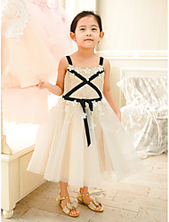 cheap -Ball Gown Tea Length Wedding / Birthday / Pageant Flower Girl Dresses - Lace / Tulle Sleeveless Spaghetti Strap with Sash / Ribbon