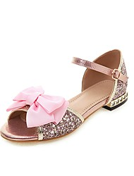 cheap -Girls' Flower Girl Shoes PU Sandals Block Heel Sandals Big Kids(7years +) Bowknot / Buckle Pink / Silver Summer / Peep Toe / Party & Evening