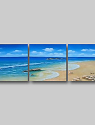 cheap -Oil Painting Hand Painted - Abstract Abstract Landscape Comtemporary Modern Stretched Canvas Summer Beach