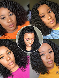 cheap -Remy Human Hair 13x6 Closure Wig Bob Asymmetrical Deep Parting style Brazilian Hair Deep Curly Natural Wig 150% Density with Baby Hair Natural Hairline African American Wig For Black Women With