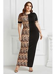 cheap -Women's Sheath Dress Maxi long Dress - Short Sleeves Leopard Animal Patchwork Print Summer Elegant Daily Weekend 2020 Light Brown Black Camel Brown S M L XL XXL XXXL XXXXL XXXXXL