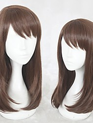 cheap -Cosplay Costume Wig Cosplay Wig Heroine Game Love and producer Straight Cosplay Halloween With Bangs Wig Medium Length Brown Synthetic Hair 18 inch Women's Anime Cosplay Soft Brown