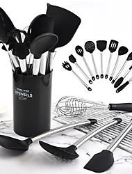 cheap -Cooking Utensils Stainless Steel + Plastic Heatproof Skimmer Cooking Utensils 11pcs