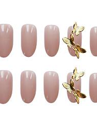 cheap -24pcs PGlossy  Butterfly Round False Nails Elegant Fashion Festival 3D Rhinestones Artificial Nail Tips Fake Nails for Finger Nail Romantic Series