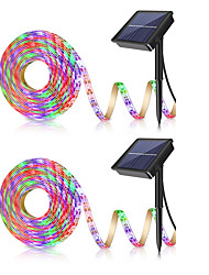 cheap -2pcs 5M Waterproof Solar Powered Warm White RGB Outdoor Courtyard Decoration Lamp Solar Garden Light Solar Floor Lamp RGB Strip Lights 2835SMD 8mm 150 LED Beads