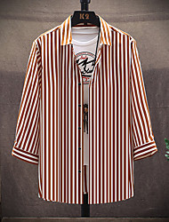 cheap -Men's Striped Shirt Basic Beach Daily Holiday Black / Orange