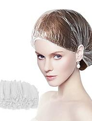 cheap -100pcs Disposable Shower Caps Beauty Salon Cap Protection Mushroom Cap Pleated Anti Dust Clear Hat Spa Salon Accessories