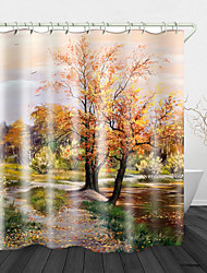 cheap -Oil Painting Beautiful Landscape Digital Print Waterproof Fabric Shower Curtain for Bathroom Home Decor Covered Bathtub Curtains Liner Includes with Hooks