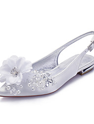 cheap -Women's Wedding Shoes Spring / Summer Flat Heel Pointed Toe Classic Sweet Wedding Party & Evening Rhinestone / Crystal / Flower Solid Colored Satin White / Ivory