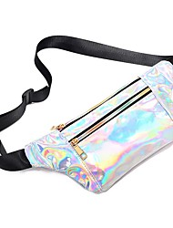cheap -Men's Bags PU Leather Fanny Pack Zipper Solid Color 2020 Daily Black Blushing Pink Light Purple Silver